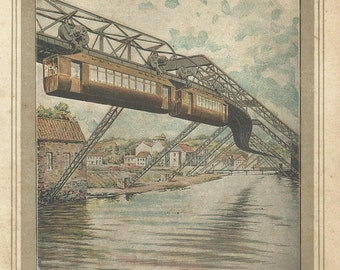 "1900 Antique fine Chromolithograph Air Electric Railway of Elberfeld (Germany). ""Scientific World XIX Century"". 115 years old nice print."