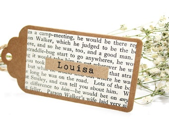 Story Book Page Detailed Wedding Place Card Tag With Twine Bow