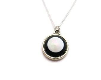 Black and White Necklace Small Retro Necklace Monochrome Necklace Monochrome Jewelry Black and White Jewelry Minimalist Necklace