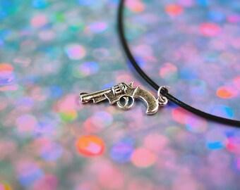 Revolver Gun Necklace Gun Choker / Pastel Goth Hand Gun Necklace / Charm Necklace Gun Choker / Sassy Grunge Necklace 90s Grunge Choker