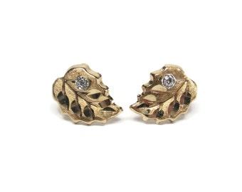 Vintage 10K Diamond Leaf Stud Earrings