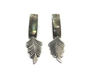 Vintage Sterling Abalone Dangle Feather Earrings