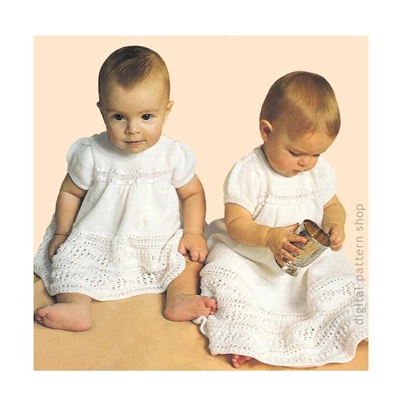 Baby Knitting Pattern Christening Dress Pattern Short or Long