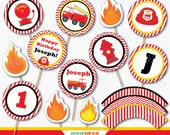 Fire Truck Cupcake Toppers - Fire Truck Birthday - Firetruck Party - Fireman Birthday - Firefighter Party - Printables (Instant Download)