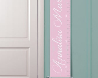 "Personalized Girl's Growth Chart ""Vintage Ruler in Pink and White"""
