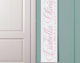 Personalized Growth Chart - Vintage Inspired Ruler in White and Pink""