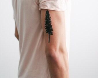 2 Tall Pine Tree Temporary Tattoos- SmashTat