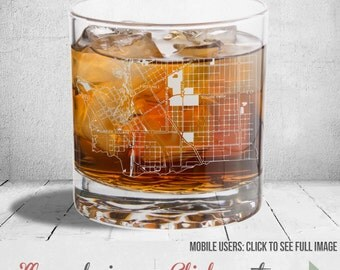 Seattle Whiskey Glass: Laser Etched Downtown Design