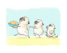 Sky High Apple Pie Kitchen Art Print - Funny Pug Art, Cute Kitchen Decor, Pugs and Pies, Pug Kitchen Wall Art or Bakery Decor by Inkpug
