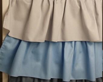 "Crib Skirt Ruffle Three Tier, ""Little prince"", Blue, Grey, Made to order"