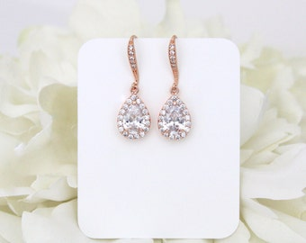 Crystal Bridal earrings, Rose Gold earrings, Teardrop Wedding earrings, Bridal jewelry, Bridesmaid earrings, Rose Gold drop earrings, Simple