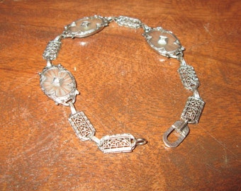 14k white gold filigree and camphor glass bracelet