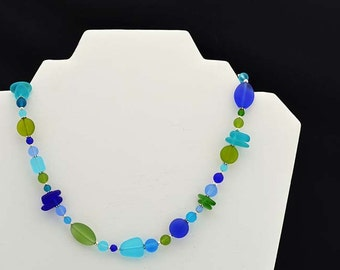 Blue and green sea glass necklace Green sea glass jewelry Blue sea glass unique jewelry statement necklace statement jewelry colorful gift