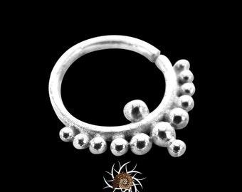 Ball Silver Septum Ring - Septum Jewelry - Septum Piercing - 18G Septum Ring - 16G septum Ring - Tribal Septum Ring - Indian Septum Ring S6