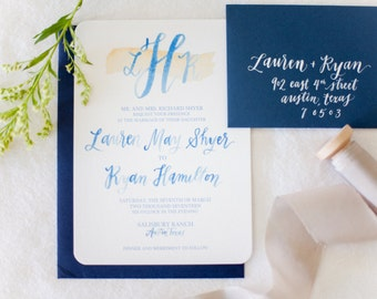 Hand-Lettered Calligraphy Wedding Invitation Suite - Lauren and Ryan Style
