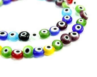 6mm Evil Eye Glass Bead, 60pcs Flat Glass Evil Eye Bead, 1 Strand Evil Eye Bead, Multicolour Evil Eye Bead, Evil Eye Finding, Evil Eye Bead