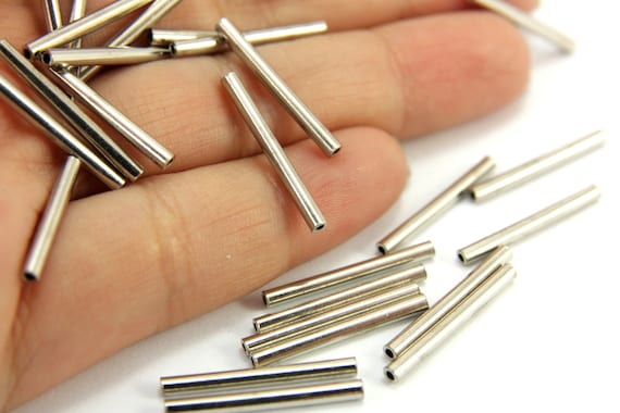 Metal tube spacer pcs mm beads silver