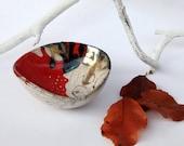 raku bowl red and white, small organizer zen style
