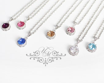 7Crystal Color Wedding Jewelry Bridal Necklace Bridesmaids Necklace Swarovski Necklace Crystal Necklace Diamond look - MACEY