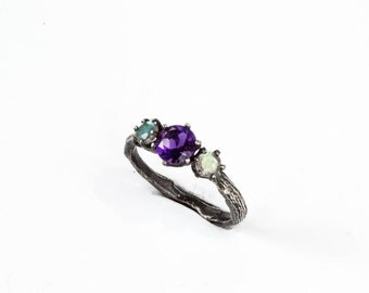 Labradorite amethyst twig engagement ring, Labradorite engagement ring, three stone ring