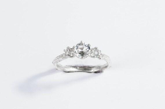 White topaz twig engagement ring, white topaz sterling silver ring, twig engagement promise ring