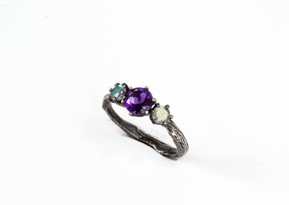 Labradorite amethyst twig engagement ring, Labradorite engagement ring, three stone ring