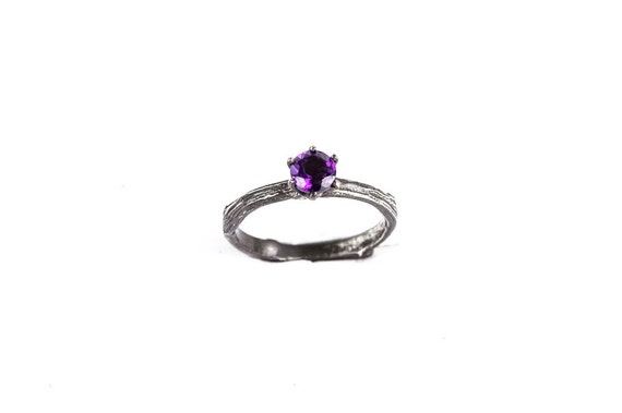 Amethyst sterling silver twig engagement ring, twig ring, nature ring