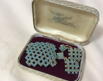 Vintage 50s 60s brooch & earrings set