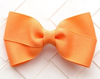 Apricot Orange Hair Bow ~ 3 Inch Hair Bow for Girls ~ Toddler Hair Bow ~ Orange Hair Clip ~ Girl Hairbow ~ French Barrette ~ Small Snap Clip