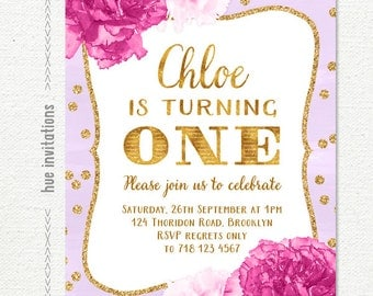 girls 1st birthday invitation, purple gold glitter confetti and watercolor pink flowers birthday party invite, customized printable file