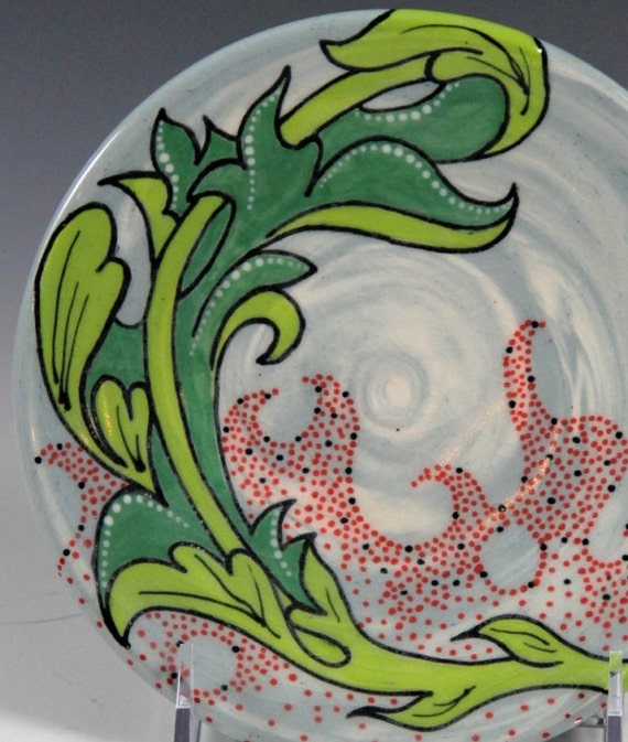 Porcelain decorative plate // blue white green red plate // hand painted ceramic plate // floral design plate