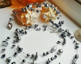 Silver Plated Grey and Silver Tone Glass Pearl Multi Strand Necklace