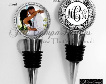 Monogram Wine Stopper, photo wine stopper, Couples Monogram Initials Wedding Wine Stopper, 2 sided wine stopper, Personalized wine stopper