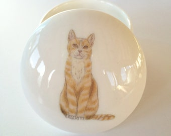 Small Ginger Cat Trinket Box