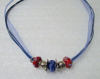 901 - NEW Blue Beaded Necklace