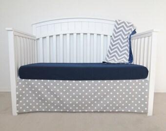 3 Piece Crib Set - Polka dot and chevron crib set