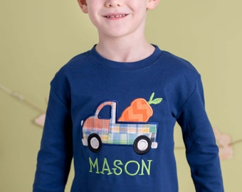 Boy's Easter Shirt with Easter Carrot Truck and Name - M30