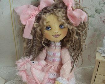Monika textile doll- craft doll - art doll- decoration doll- handmade doll-Unique doll
