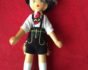 Vintage wood German jointed doll made in Poland
