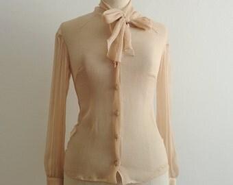 Alessandro dell'Acqua crêpe silk lavallière blouse