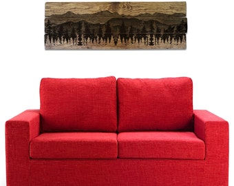 """Mountain Scenery and Forest Wall Art on Solid Wood Boards - 48"""" x 17"""" Nature Decor, Trees, Panorama, Mountainscape"""