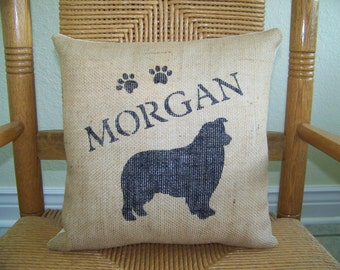 Australian Shepard  pillow, personalized dog pillow, pet pillow, dog silhouette pillow, burlap Pillow, stenciled pillow, FREE SHIPPING!