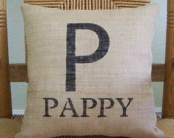 Papa pillow, Father's day gift, Personalized pillow,  Burlap pillow, Grandparent's gift, custom name pillow, FREE SHIPPING!