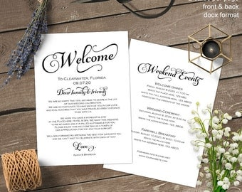 Wedding welcome letter, Wedding welcome bag note, itinerary, thank you, template, printable, S4