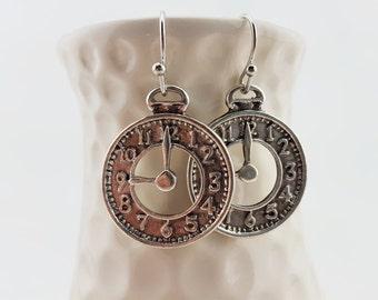 Steampunk clock earrings - steampunk clock jewelry - fairy tale clock earrings - halloween costume jewelry - halloween costume earrings