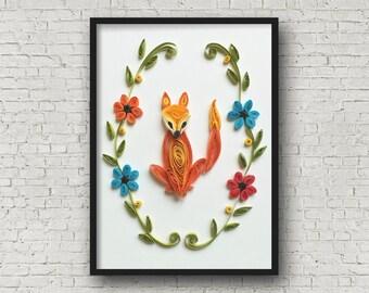 quilled art, fox nursery, wall art, Fox Art, fox print, fox nursery decor, fox illustration, fox decor, kid room decor, woodland decor,
