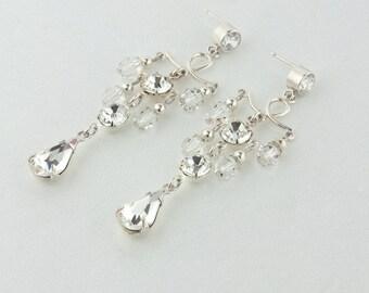 Bridal Earrings, Wedding Earrings, Rhinestone Earrings - Violet