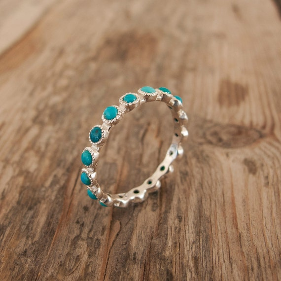 White Gold turquoise Ring Eternity ring Green stone ring