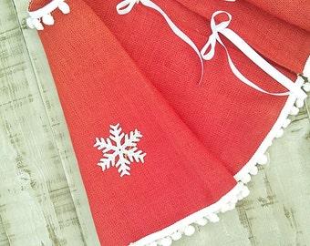 """Christmas Tree Skirt - Red Burlap Tree Skirt - Christmas Decor - Tree skirt with white pom pom fringe - 44"""" - 56"""""""