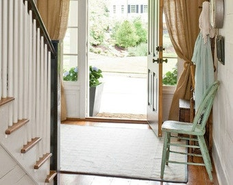 "Burlap Curtains - Curtains - Burlap Drapes - Burlap Curtain Panels - Rustic Curtains -  65"" x 96"" - Rustic Home Decoration -  Set of 2"